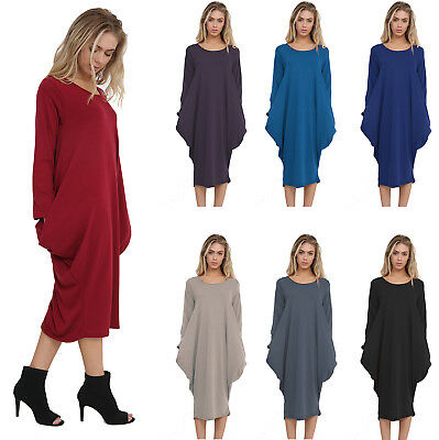 Womens Ladies Baggy Midi Dress Italian Lagenlook Long Sleeve Side Pockets Drape
