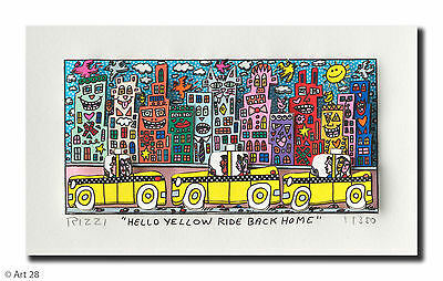 "Original James Rizzi 3 D Bild "" HELLO YELLOW  RIDE BACK HOME"" NEU  Zertifikat"