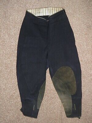 Vintage 'Richard & Son' Ladies Navy Cotton Twill And Suede Breeches