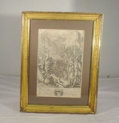 Antique Early Old Master Engraving Print Signed Collar Collaert Gold Frame