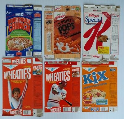 6 Vintage Miscellaneous Empty And Flattened Cereal Boxes (Various Lot)