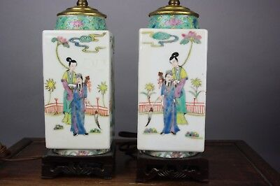 19th/20th C. Pair Chinese Famille-Rose Square 'Eight Immortals' Vases