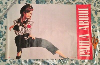 "Vintage1990 Paula Abdul 23"" x 35"" Wonderland Music Straight Up album poster"
