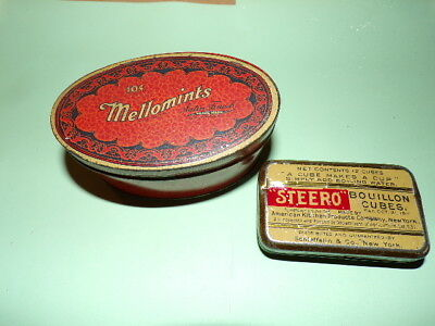 2 Vintage Tins - Mellomints And Steero Bouillon Cubes