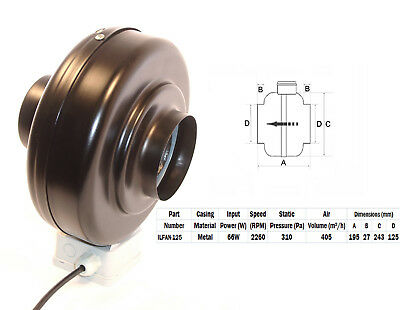 """Quality In-line Duct Co-Axial Pipe Fans 230v 2 Pole 125mm 5"""" Metal Inline"""