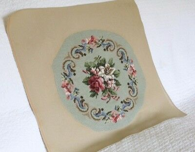 Lovely Vintage Hand Embroidered Needlepoint Tapestry Panel With Rose Flowers