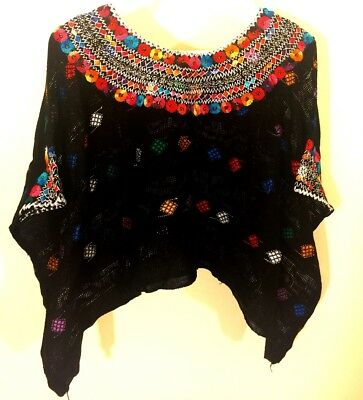 Hand Embroidered Huipil Coban Flower tunic Black top beach cover, mesh shirt