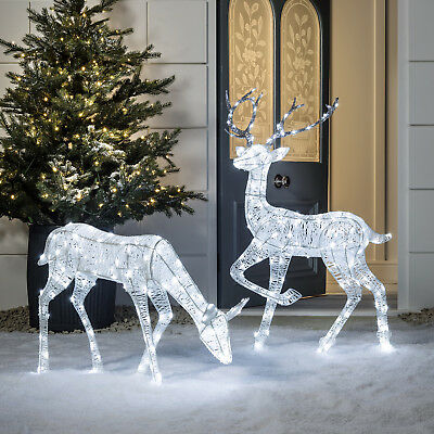 Light Up LED Glitter Christmas Decorative Indoor Outdoor Reindeer Pre Lit Figure
