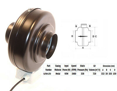 """Quality In-line Duct Co-Axial Pipe Fans 230v 2 Pole 150mm 6"""" Metal Inline"""