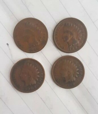 4 X USA ONE CENT INDIAN HEAD COINS 1890 -- 1908 All different dates.