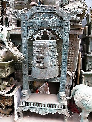 """60"""" Huge China old bronze dragon Foo Dogs Lion phoenix chime bell Statue"""