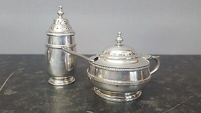 Hallmarked Solid Silver Mustard Pot, Pepper Shaker and Spoon.