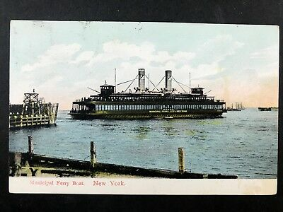 New York City Municipal Ferry QUEENS J Stern Transport Postcard 499postcards