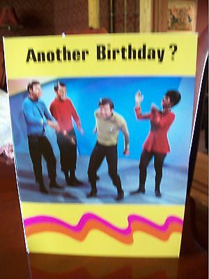 "Original STAR TREK 1976 ""HAPPY BIRTHDAY"" Greeting Card Authentic with Button Tag"