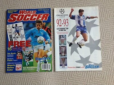 World Soccer Magazine March 1993,Signori,FREE GIFT Champions League Booklet