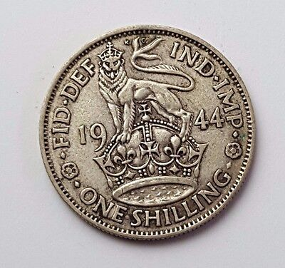 Dated : 1944 - Silver - One Shilling - Great Britain - King George VI - UK Coin