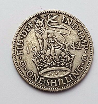 Dated : 1942 - Silver - One Shilling - Great Britain - King George VI - UK Coin