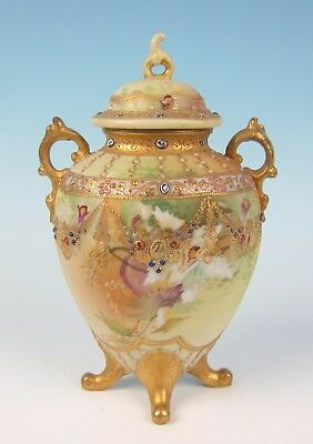 Nippon Jewel & Gold Encrusted Urn Antique Japanese Porcelain Vase Japan Morimura