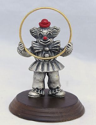 Vintage Pewter Clown Figurine With Brass Hoop