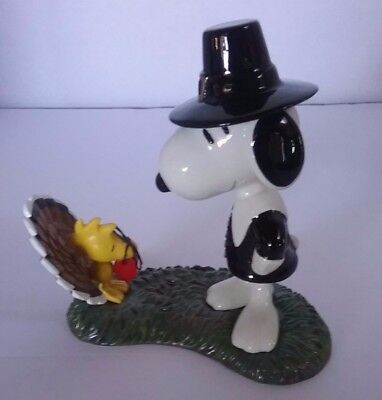 Peanuts Snoopy as a Pilgrim Woodstock as a Turkey Thanksgiving Dept. 56 Figurine