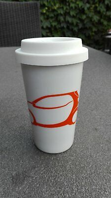 Original smart Thermobecher, Isolierbecher, Trinkbecher - weiß / orange, Porzell