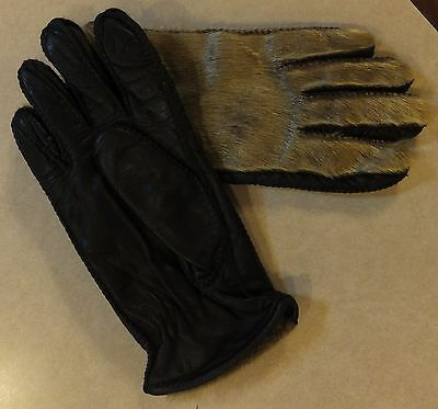 Vintage Pair Of Womens Fur And Leather Gloves Size M Ladies Sport Gloves