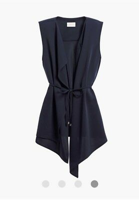 CHICOS open front vest Navy sleeveless jacket duster Size 2 ( M/L)
