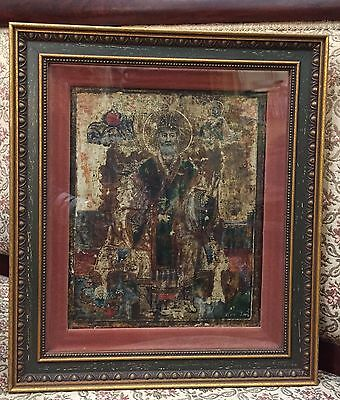 Signed 1858 Greek Religious Icon of Saint Nicholas Oil Painting on Wood Block