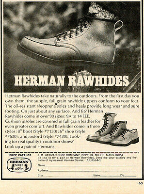 1974 small Print Ad of Herman Rawhides Shoes & Boots