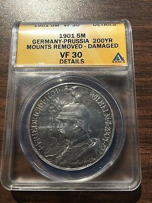 1901 Germany 5 Mark Prussia Mint ANACS VF 30 Details Silver Coin German Empire
