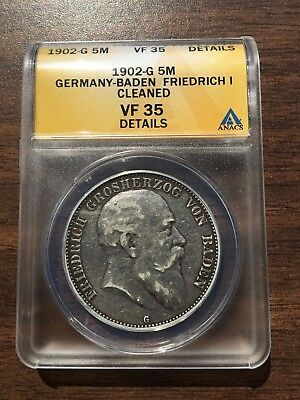 1902-G Baden Mint Germany 5 Mark ANACS VF 35 Details Silver Coin German Empire