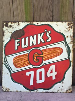Rare Vintage FUNK'S G 704 Company Advertising Sign Seed Feed Corn Metal 1940's?