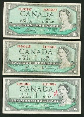 3-  $1 ONE Dollar Bank of Canada banknotes 1954  lot collection