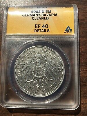 1903-D Bavaria Germany 5 Mark ANACS EF 40 Details Silver Coin German Empire