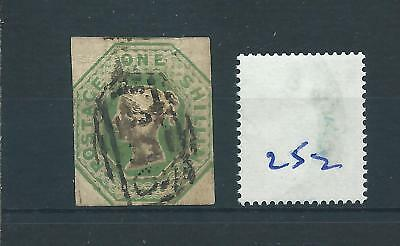 wbc. -  GB - QUEEN VICTORIA -  QV252 - 1/-d. - GREEN - EMBOSSED -  SG 54