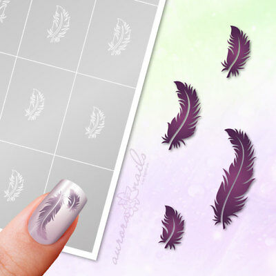 Plantillas Aerógrafo + Nail art SET82 Pluma Pájaro feather autoadhesivo SET