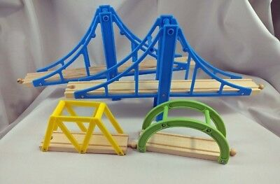 Brio Compatible Toy Wood Train Bridges Lot 4 Thomas Engine Blue Yellow Green