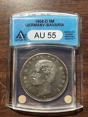 1908-D Bavaria Germany 5 Mark ANACS AU 55 Silver Coin German Empire Almost UNC!