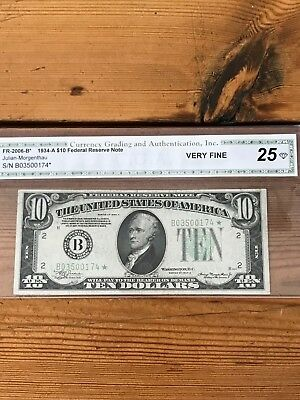 $10 1934-A Star Federal Reserve Note New York Vf 25
