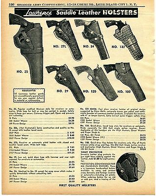 1956 Print Ad of Lawrence Saddle Leather Revolver Gun Holsters
