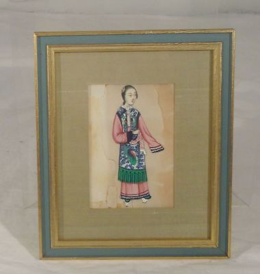 Antique Vintage Chinese Rice Pith Paper Painting Damaged As Is