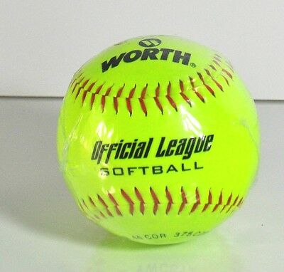"""New Worth Neon Yellow 12"""" Official League Softball"""