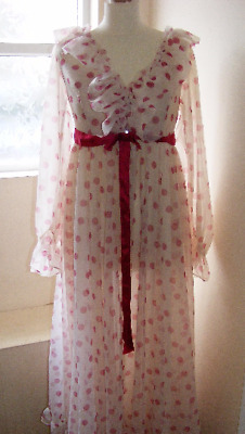 Vintage Polka Dot Nightdress Gown by Martin Emprex for The Switch - 1970s UK 12