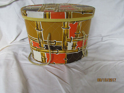 Vintage Estate Find MODEL HOME Hat Box Converted To Sewing Box Oval Retro Colors