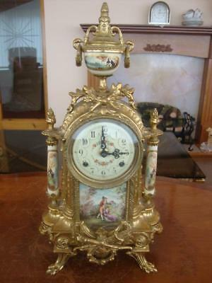 Stunning Vintage French Ornate Brass And Porcelain Clock. ~ Signed.