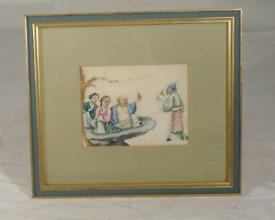 Antique Chinese Export Rice Pith Paper Painting Buddha Arhat Immortal