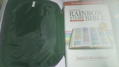 King James Rainbow study bible in shiny purple zipped carry case plus extras
