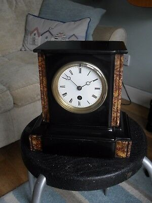 Finely Featured French Slate Clock in Good Order