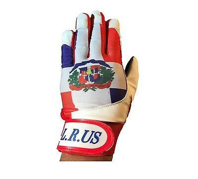 (Large) - Dominican Republic Flag Batting Gloves -White 2016. latinos r us