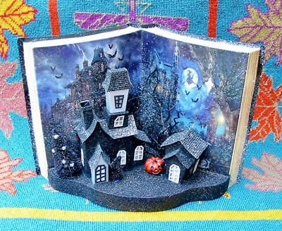 Halloween Super Cool Lighted Faux Halloween Spooky Book Village Houses